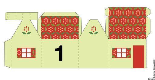 Calendrier de l\u0027Avent avec de belles maisons colorées , à imprimer