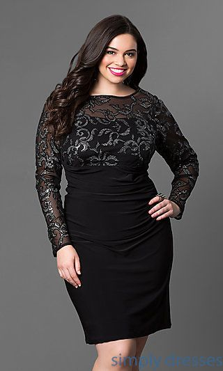 d7ac651361b1e Shop plus-size long-sleeve short dresses with sheer mesh at Simply Dresses.  Black plus-size cocktail dresses and wedding-guest dresses with sequins.