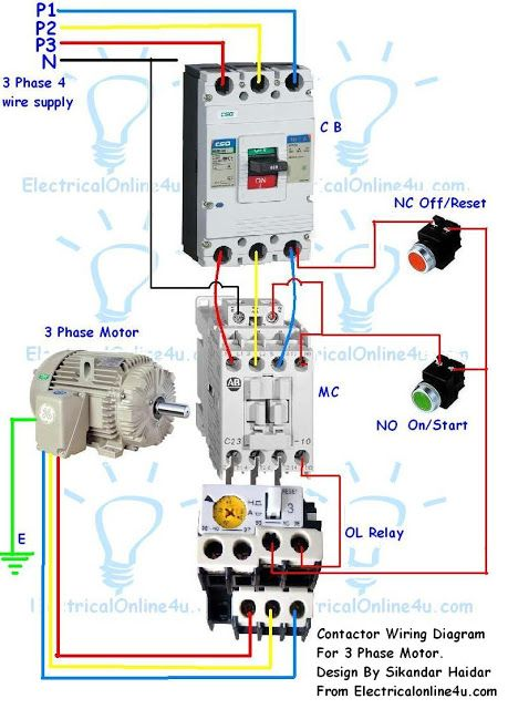 Contactor Wiring Guide For 3 Phase Motor With Circuit Breaker, Overload Relay, NC NO Switches