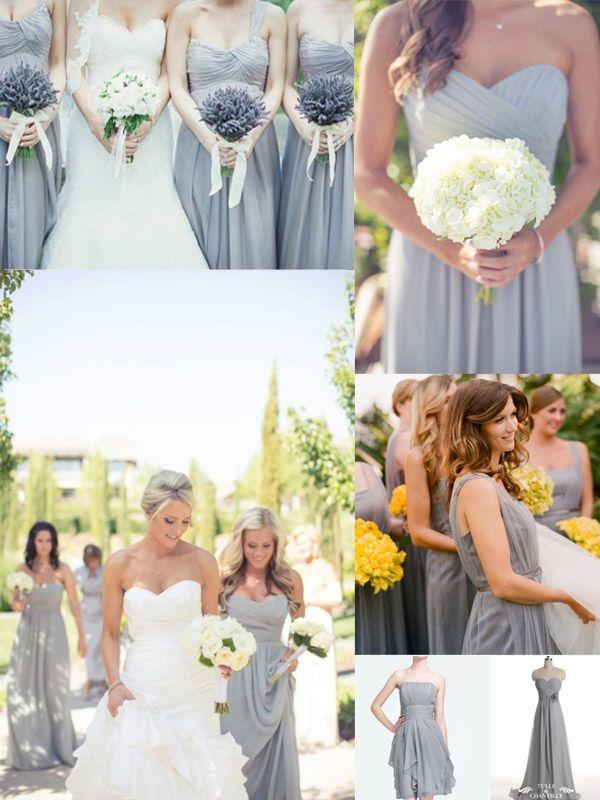 White Yellow and Gray Bridesmaid Dresses