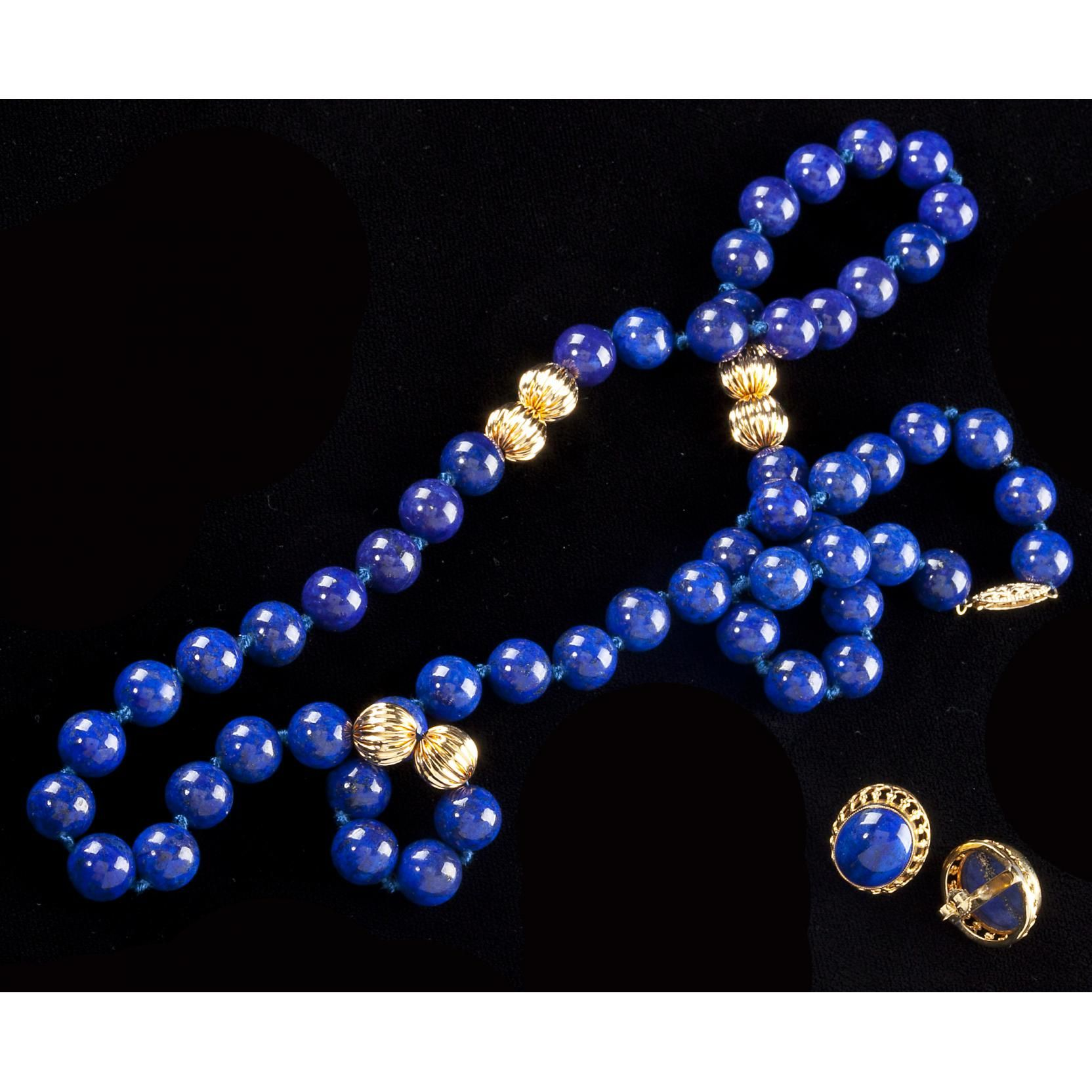 Gold and Lapis Necklace and Earrings Sold $900.