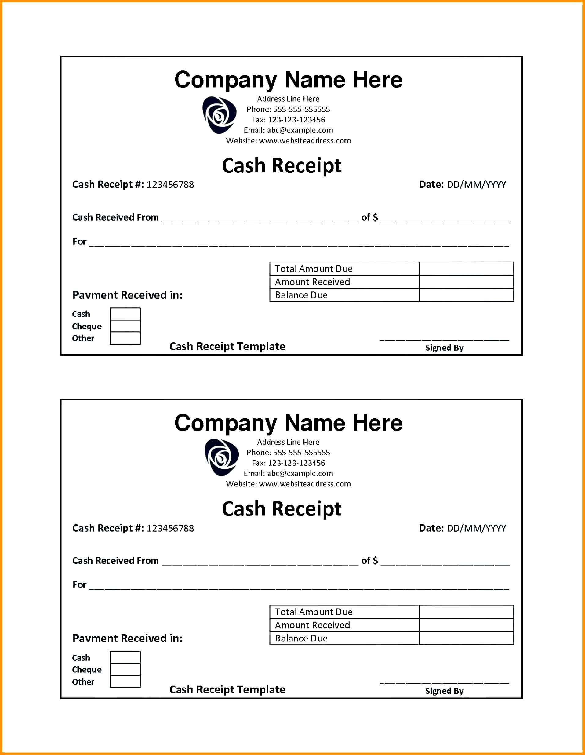 Sample Cash Receipt Templates Receipt Template Invoice Template Word Invoice Template