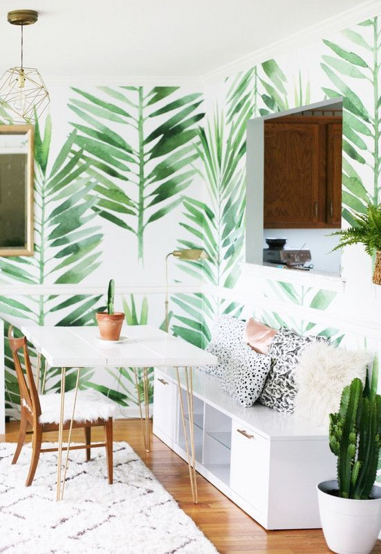 7 Tropical Wallpapers To Decorate Your Home With Domino Tropical Home Decor Wallpaper Living Room Interior Design Tropical wallpaper bedroom ideas
