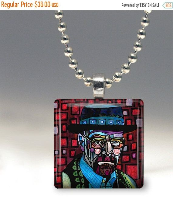 55% Off TODAY- Walter White Folk Art Jewelry - Breaking Bad Pendant Glass Gift Art Heather Galler Gift -