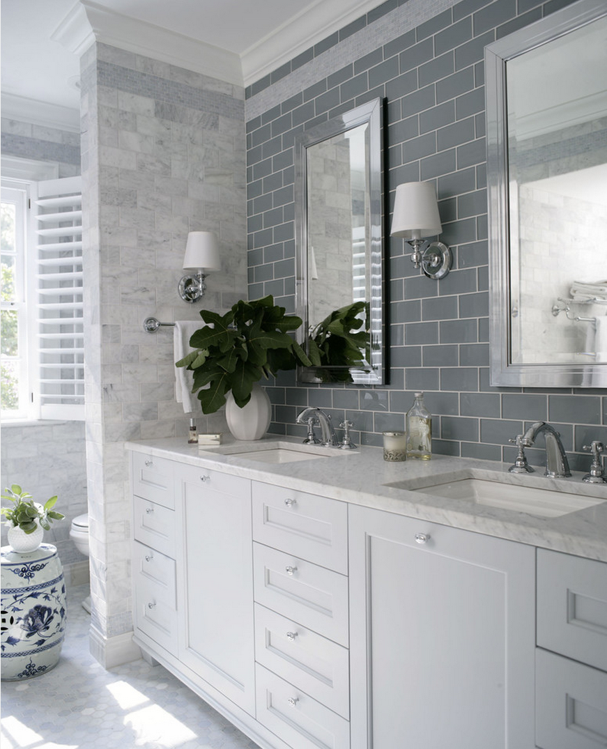 Grey Subway Tile As A Backsplash Behind The Vanity And Mirrors Creates A Focal Point Hampton Style Bathrooms Bathrooms Remodel Traditional Bathroom