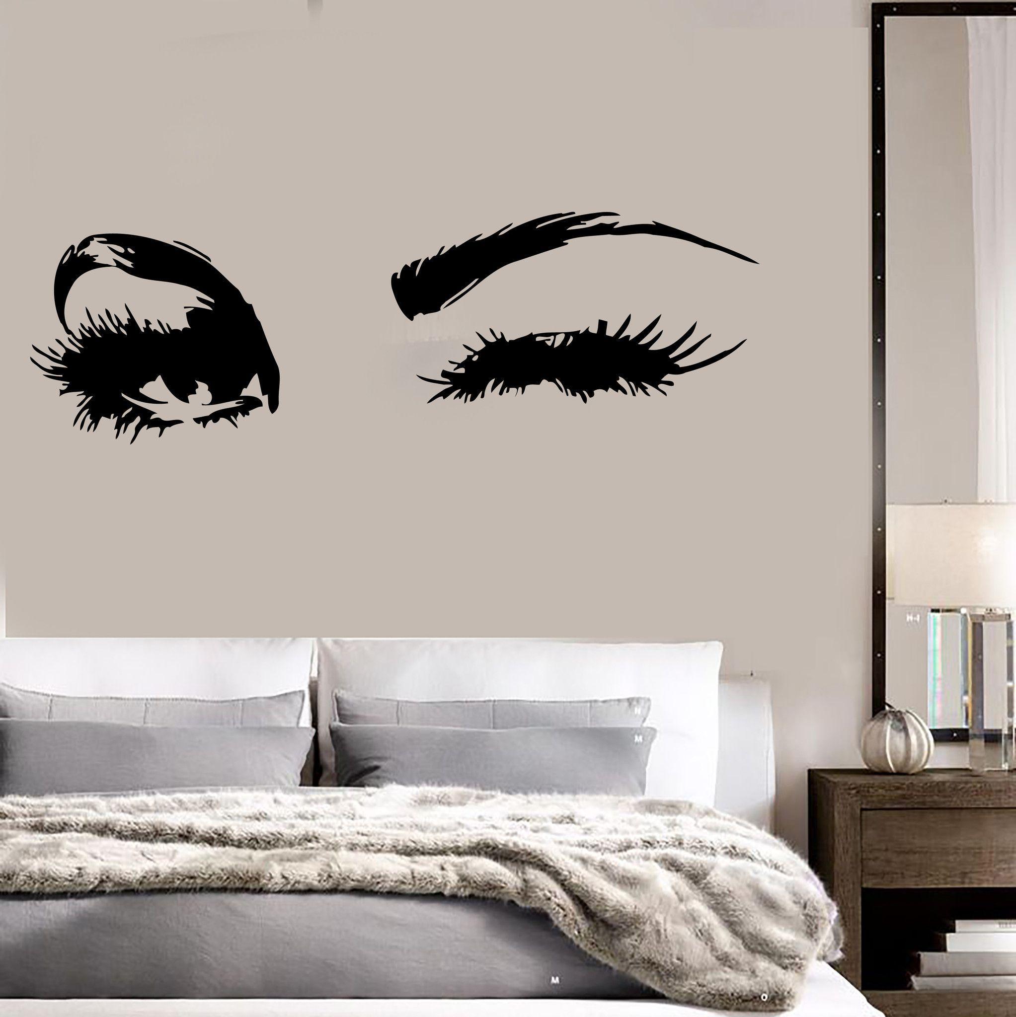 Beautiful Eyes Big Eye Lashes Wink Decor Wall Art Mural Vinyl Decal Sticker  Unique Gift (M462)