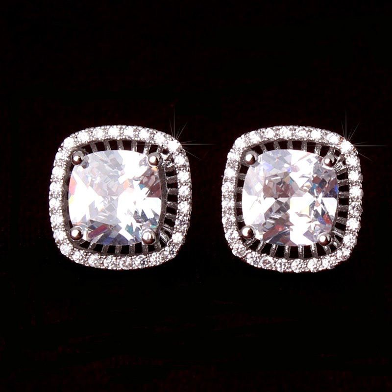 Micro Pave & Radiant Cut Cubic Zirconia CZ Stud Earrings (Sparkle-2237A-U) #Unbranded