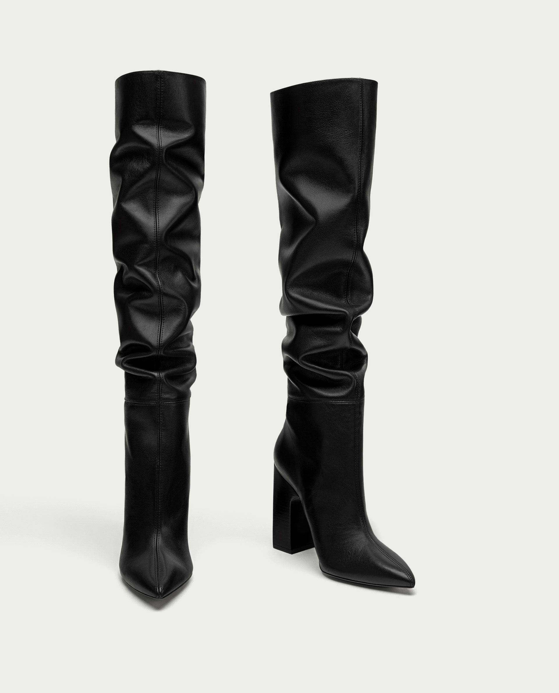 63524764d2b Image 3 of LEATHER HIGH HEEL BOOTS WITH WIDE LEG from Zara