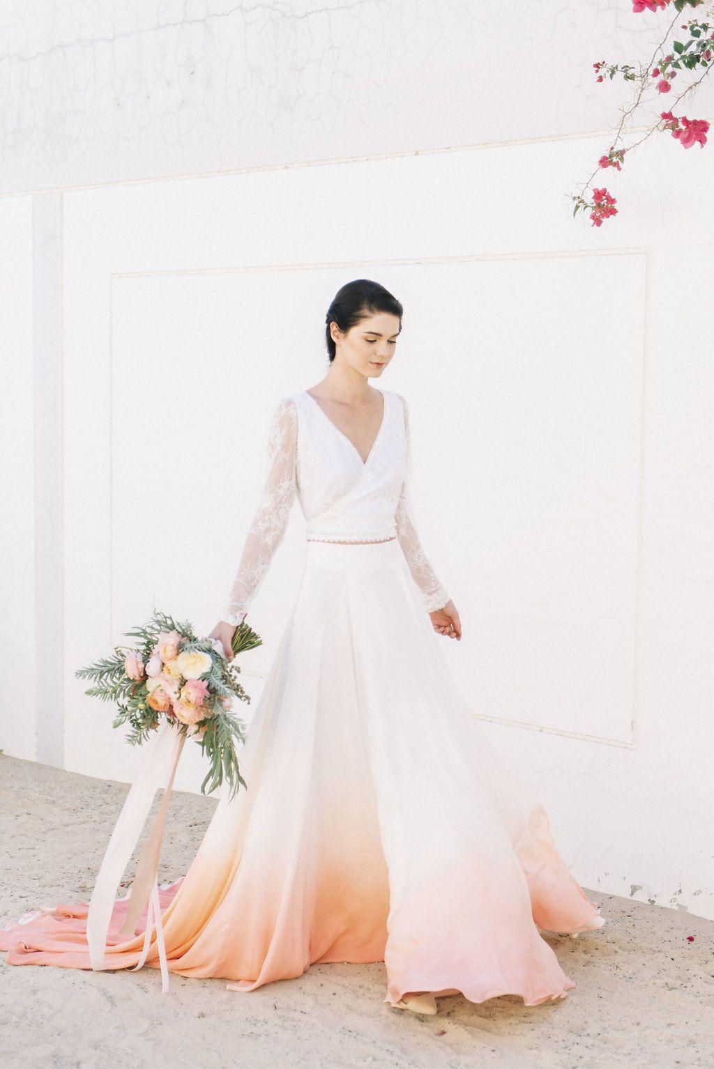 House of moirai dip dye wedding dress bride bohemian wedding