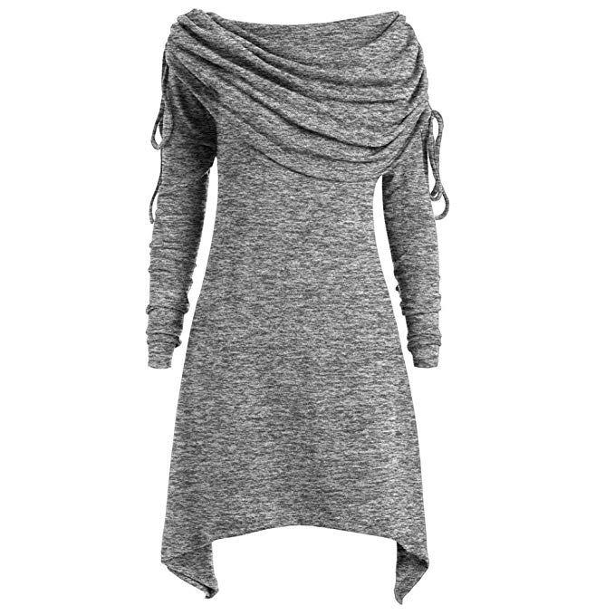 Longra Herbstmode Damen Pullover Longpullover Foldover