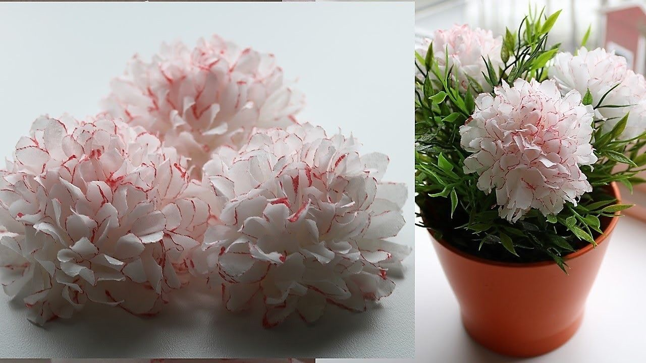 How To Make Small Tissue Paper Flower Diy Paper Craft Pinterest