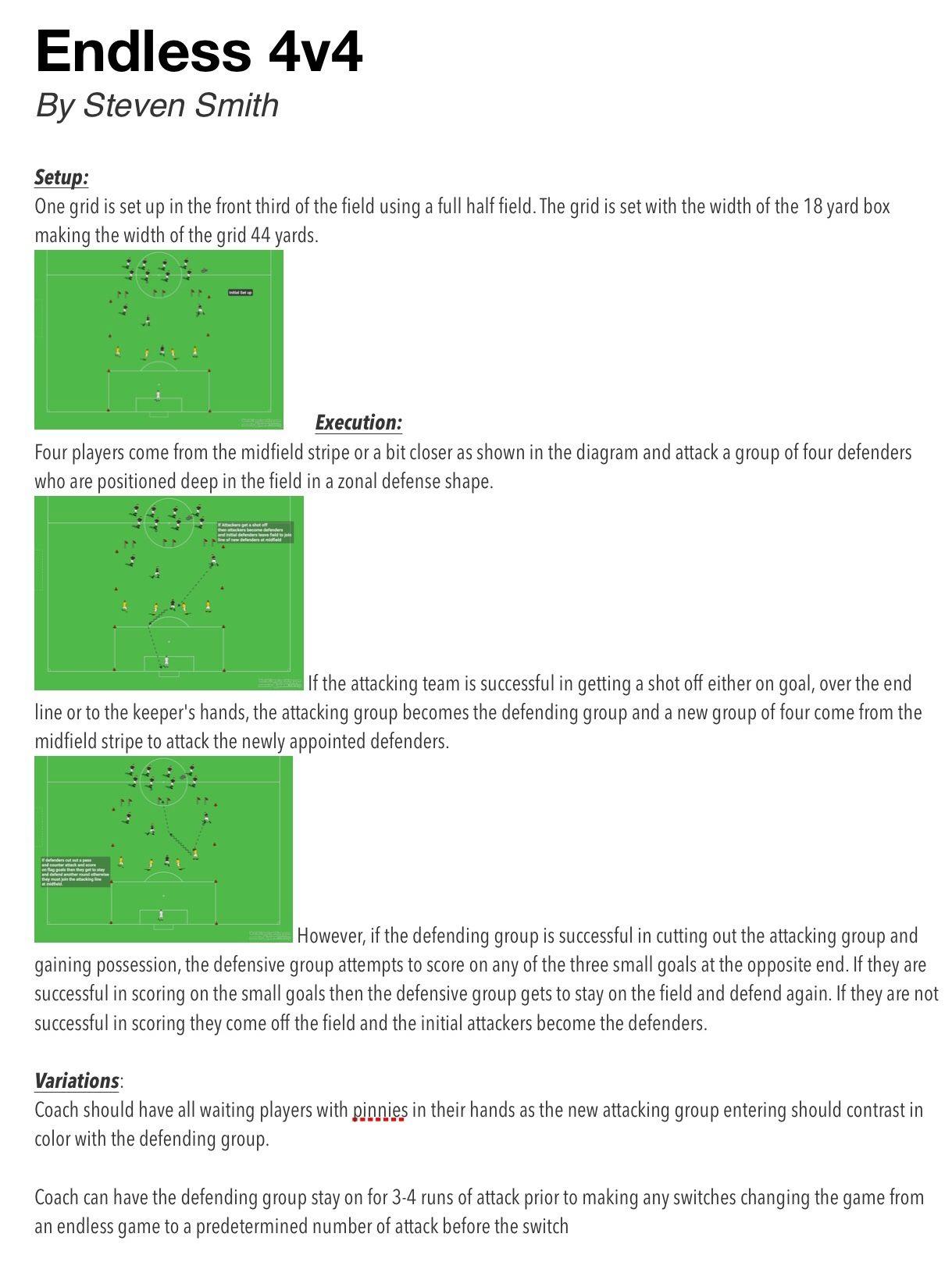 Endless 4v4 Soccer drills, Soccer training, Football coach