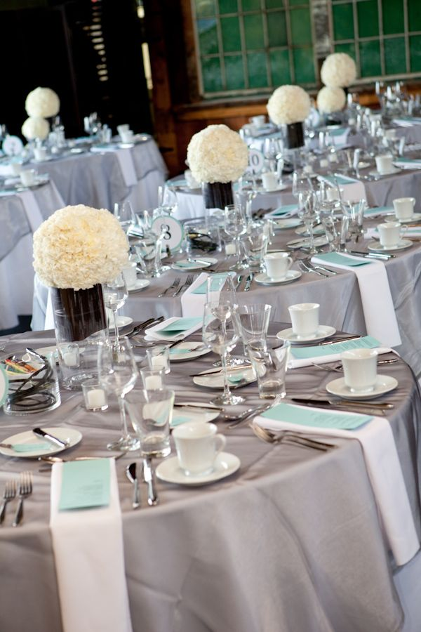 Silver White Light Blue And Ivory Themed Reception Table Tops
