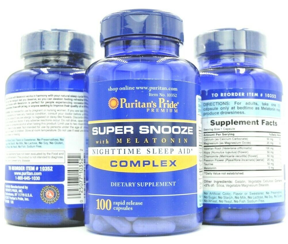 Super Snooze Melatonin Valerian Root Chamomile Passion Flower Hops Taurin Puritanspride Nighttime Sleep Aid Melatonin Valerian