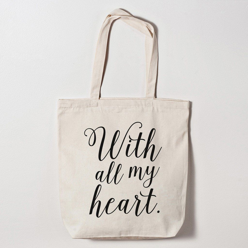 Tote Bag - With All My Heart Tote Bag | | Wedding - Favours ...