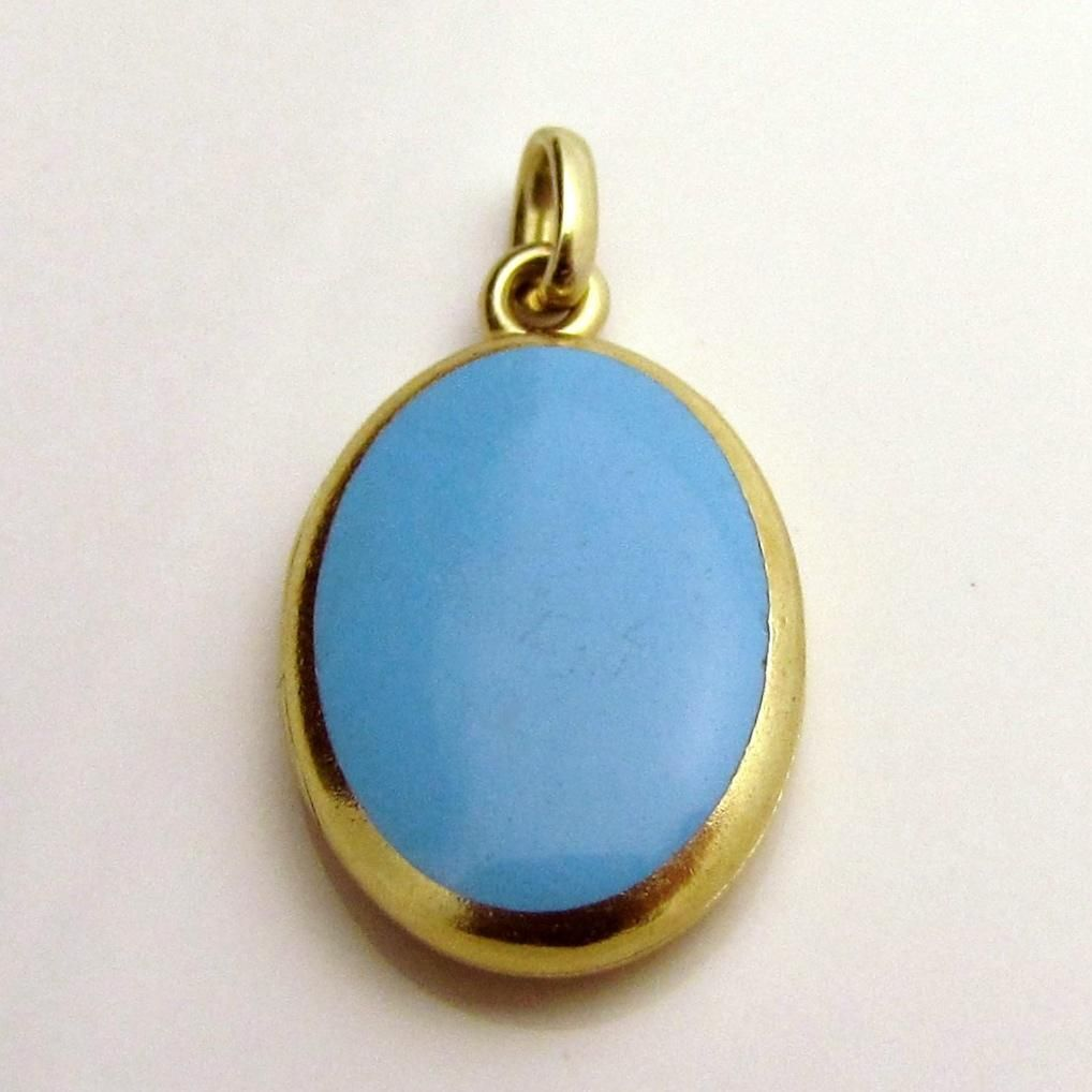 Beautiful Vintage 14K Gold Genuine Turquoise Charm Locket from charmalier on Ruby Lane