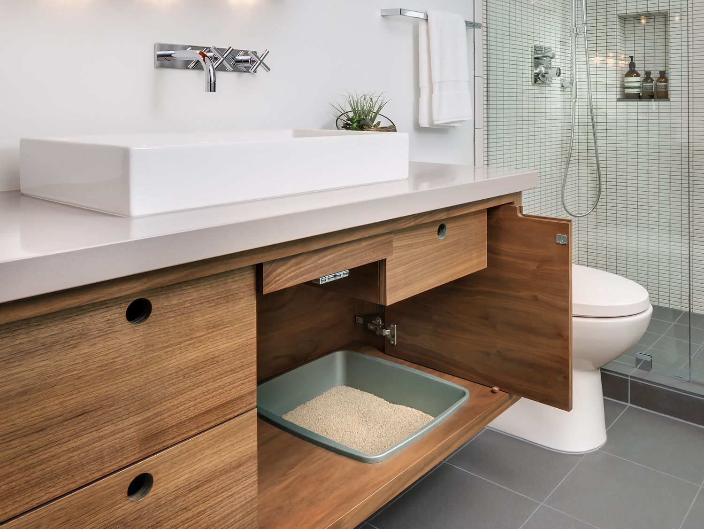 Recessed Litter Box In Bathroom Vanity House Updates In