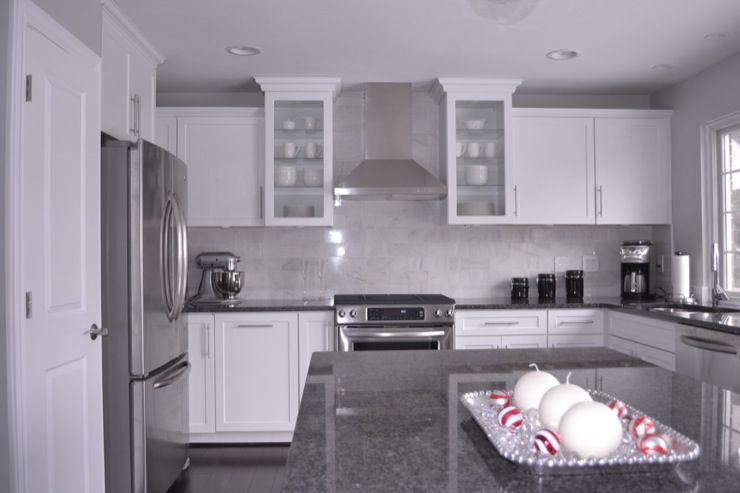 kitchens - Behr - Dolphin Fin - white Cabinets steel gray granite carrara  marble stainless steel hood Kitchen |