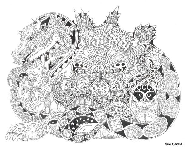 Dragon Animal Spirit Tangle Unique Coloring Page For