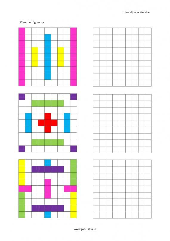 Werkbladen - ruimtelijke orientatie - nakleuren ~ Juf Milou | thema ...