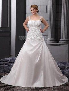 1f1ac9c2f43 Bretelles fines robe de mariée de grande taille en satin ornée de broderie  et de paillettes