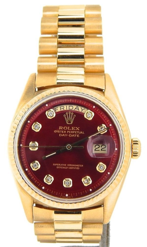9d39e33f4f9 Mens Rolex Day-Date President 18KT 18K Yellow Gold Watch Red Diamond Dial  1803 #rolex #menswatches #watchesformen