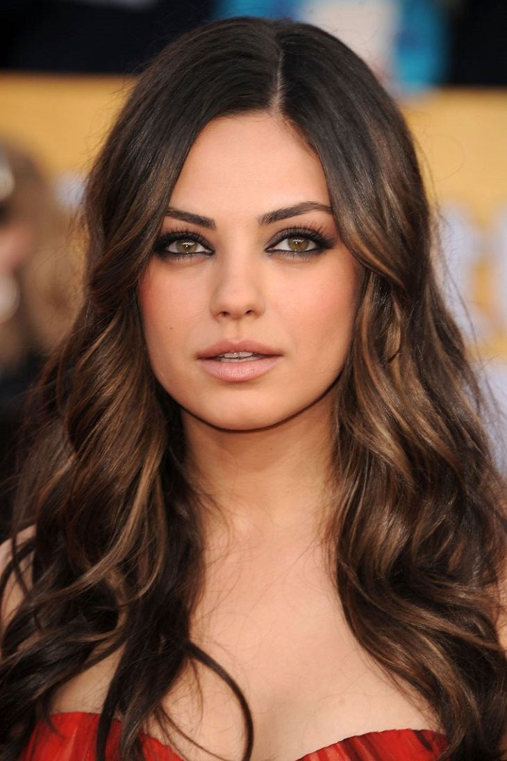 Beautiful dark brown to medium golden brown ombre on mila kunis