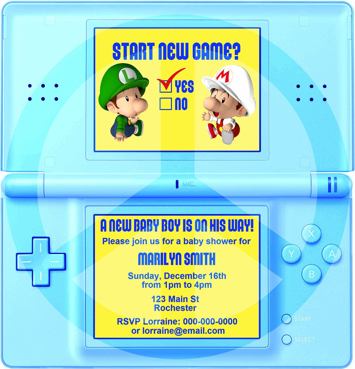 DIY Printable Video Game Shower Party Invitation, Video Game Party ...