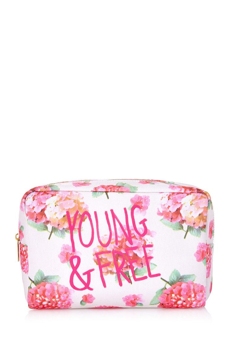 fashionlol's save of FOREVER 21 Young & Free Floral Cosmetic Bag Cream/Pink One on Wanelo
