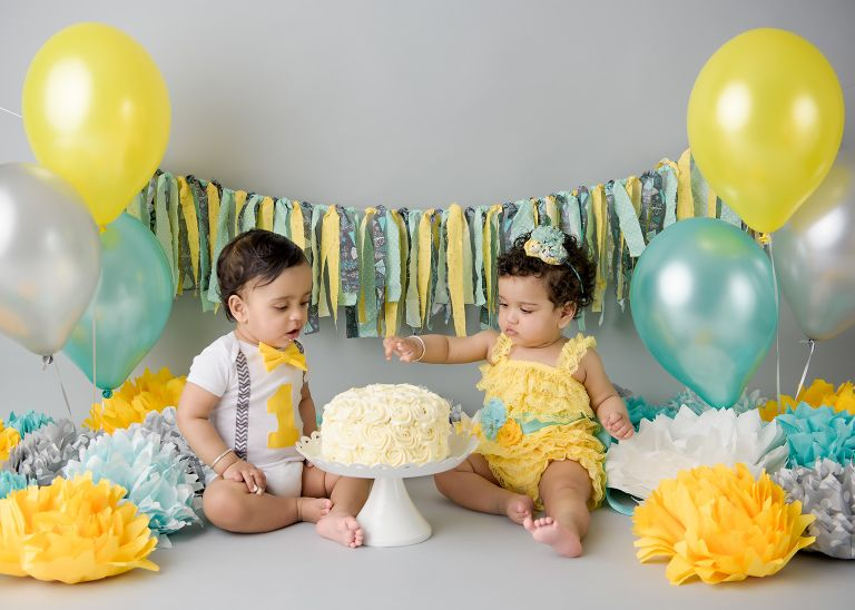 Cake smash baby twins boy and girl yellow aquamint and grey First