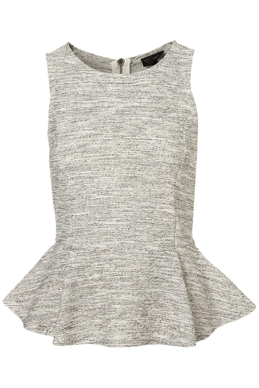 4fa6109de47 Women s Gray Sleeveless Boucle Peplum Top