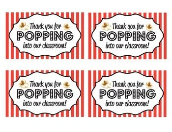 graphic relating to Popcorn Bag Printable named Because of for Popping Into Our Clroom\