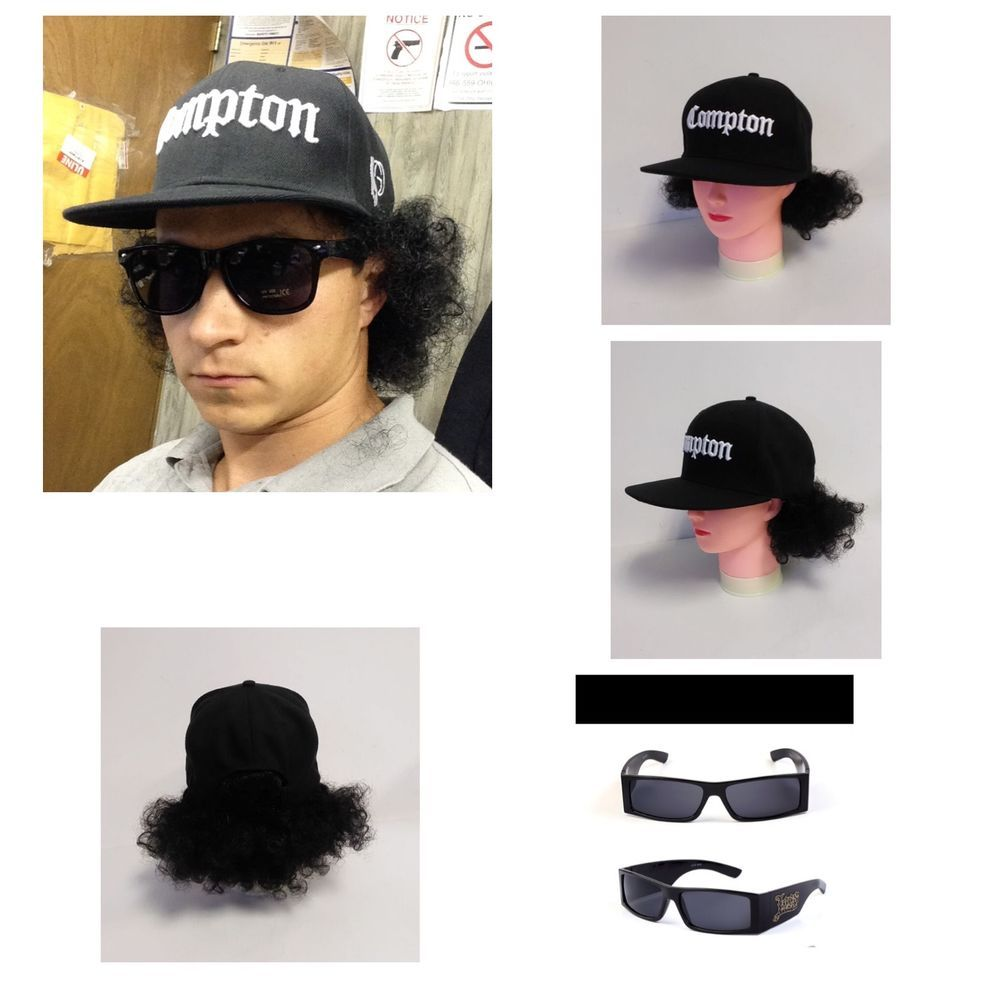 PRESALE Afro COMPTON Snapback Baseball Hat with Hair rapper ...