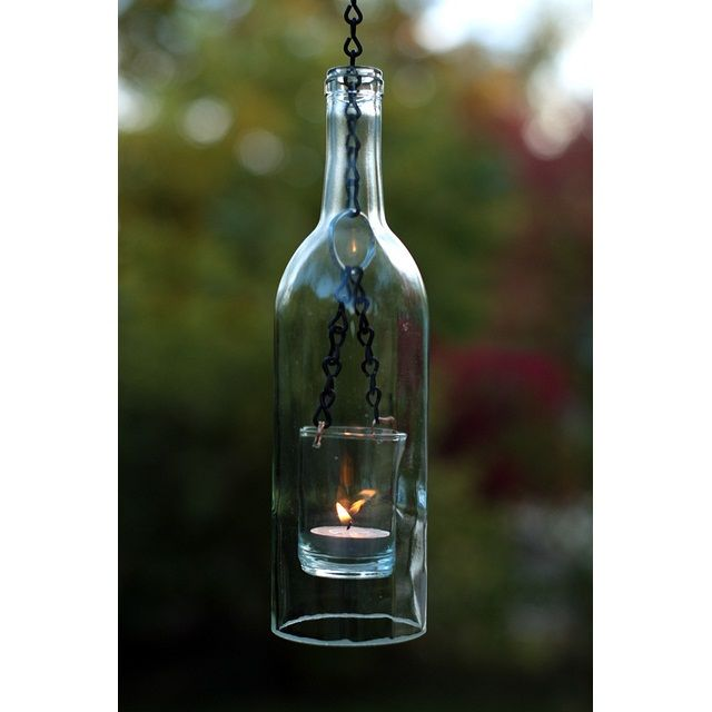 how to make hanging wine bottle lanterns