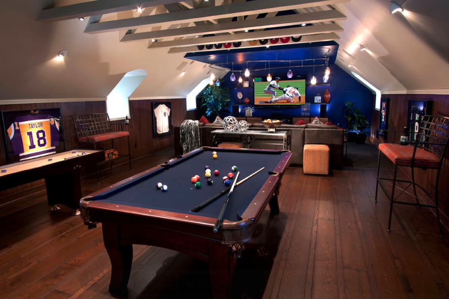 Man cave gaming room