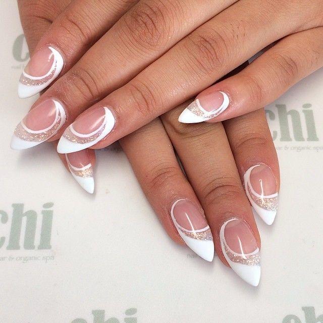 Nail Art Galleries White French Stiletto