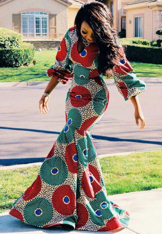 Kleid mit afrikanischem Print afrikanisches Kleid #afrikanischekleidung