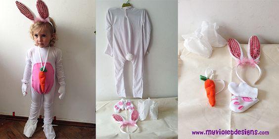 Disfraz largo de conejo con zanahoria y orejas. myvioletdesigns.com