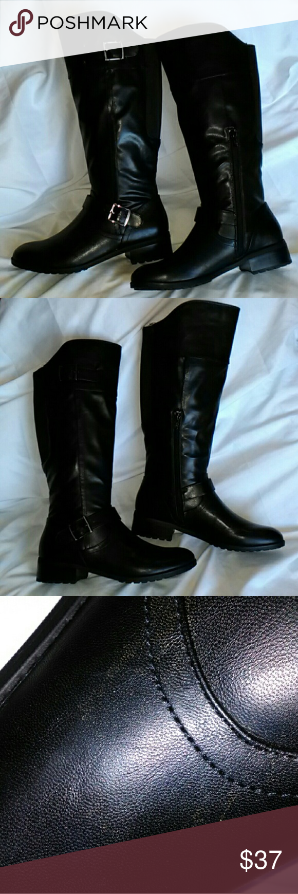 """Andrew Geller Ideh Women's Black Riding Boots 8.5M Pull on design  Half zipper at inset Strap and buckle accents Soft faux leather upper Rubber traction outsole 1-1/2"""" block heal Rear stretch panel 15"""" Shaft height 15"""" Calf circumference  Brand New in box. Have a minor manufacturer imperfection on the right shoe upon close look shown in photo. Retail for $89.99. ❌No Trades Andrew Geller Shoes Winter & Rain Boots"""