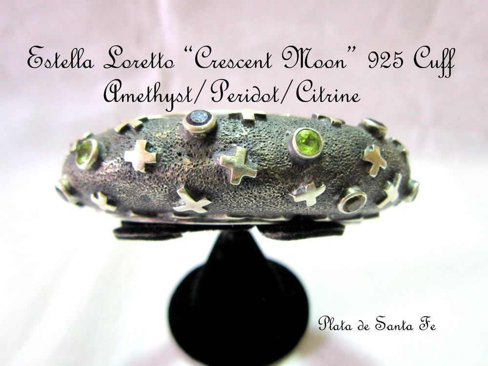 "Santa Fe Royalty  ESTELLA LORETTO ""STAR GAZER CRESCENT MOON"" 925 Cuff W/Gems #EstellaLoretto"