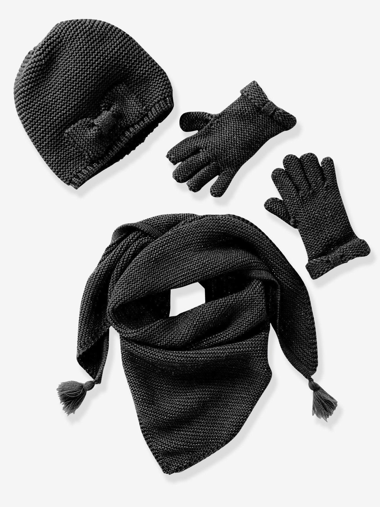 123c391f986 Echarpe fille + bonnet + moufles ou gants noir irisé - Un joli ensemble  bien chaud