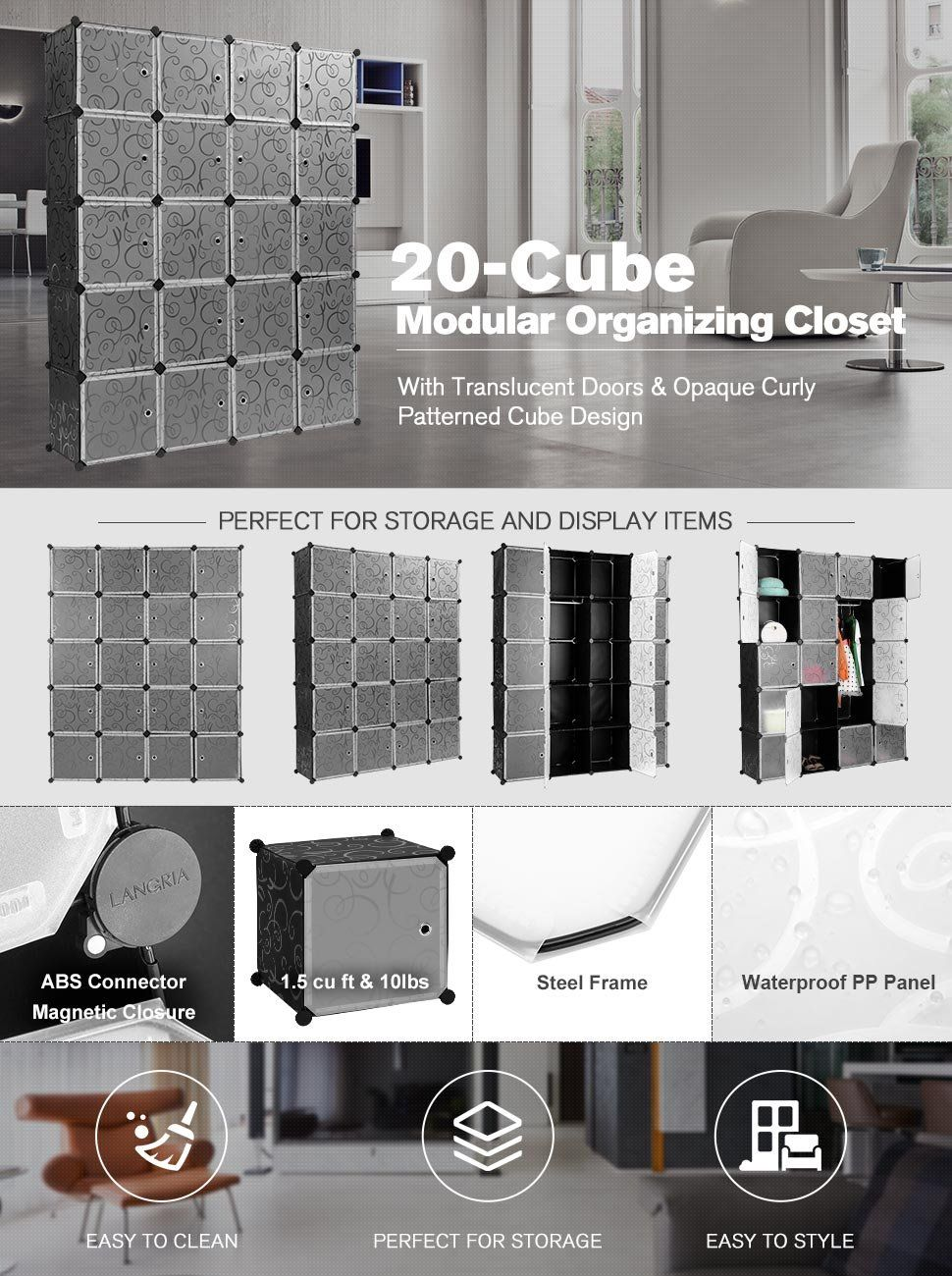 Amazoncom LANGRIA 20Cube DIY Modular Shelving Storage