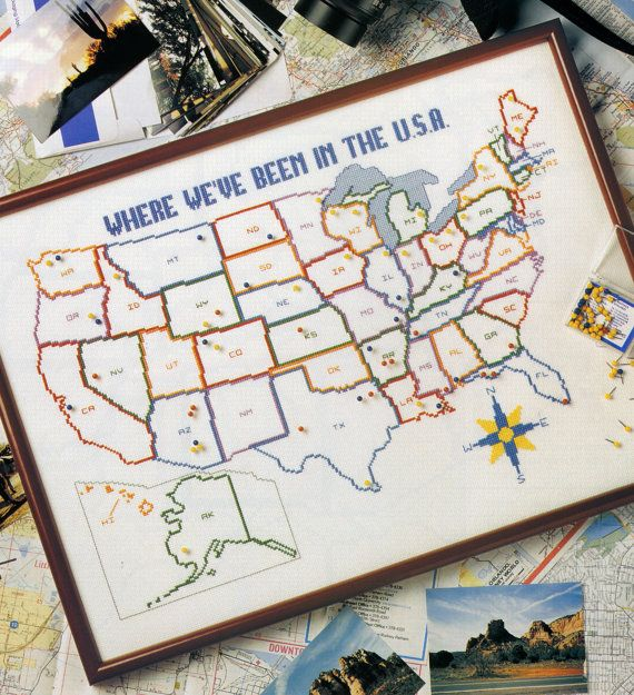 Map Of The USA Cross Stitch Patternroad Trip Crossstitching - Us map patterns