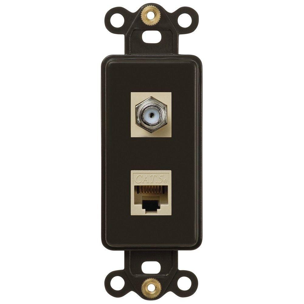 Amerelle Cxdtb Single Coax And Single Data Jack Rocker Insert Wallplate Brown Phone Jack Wall Switch Plates Switch Plates