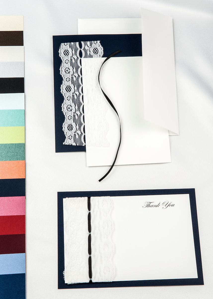 Navy Blue Threaded Real Lace DIY invitation kit with White Card ...