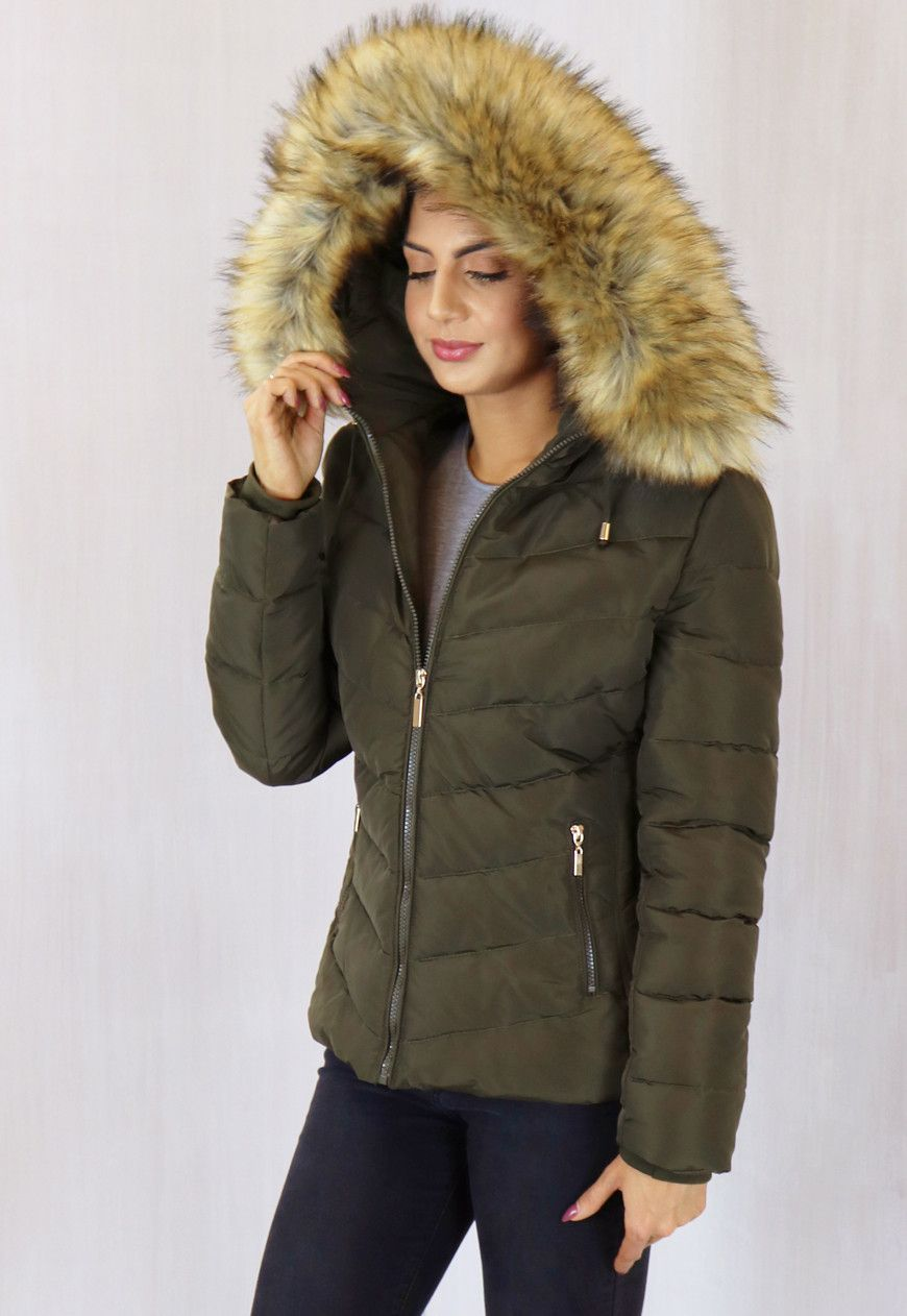 Holly Quilted Short Hooded Puffer Anorak Coat with Natural Fur ...