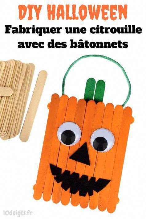 Citrouille en bâtonnets - Halloween - 10 Doigts #activitemanuellehalloween