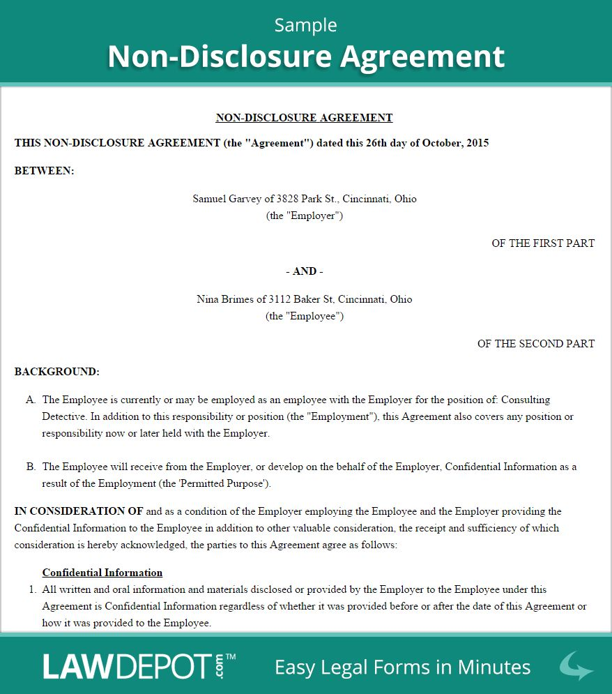 Free Nondisclosure Agreement Create Download And Print With Regard To Standard Confidentiality Ag Non Disclosure Agreement Statement Template Business Template