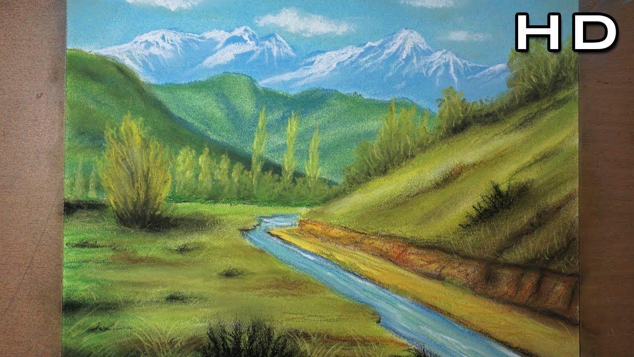 Como Pintar Un Hermoso Paisaje De Campo Al Pastel Paso A Paso Tutorial Hermosos Paisajes Paisajes Como Pintar