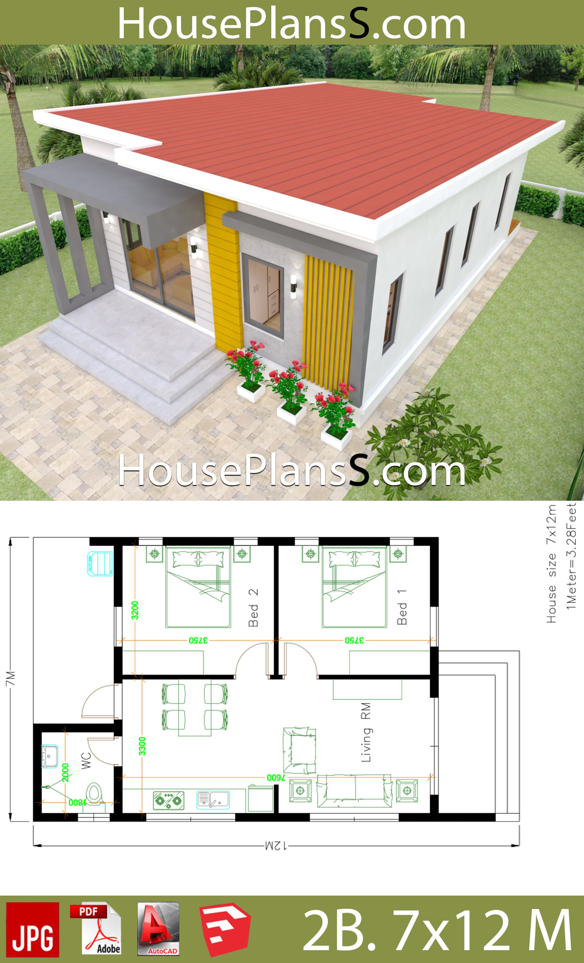 Small House Design Plans 7x12 With 2 Bedrooms Full Plans House Plans 3d Small House Design Plans Small House Model House Design